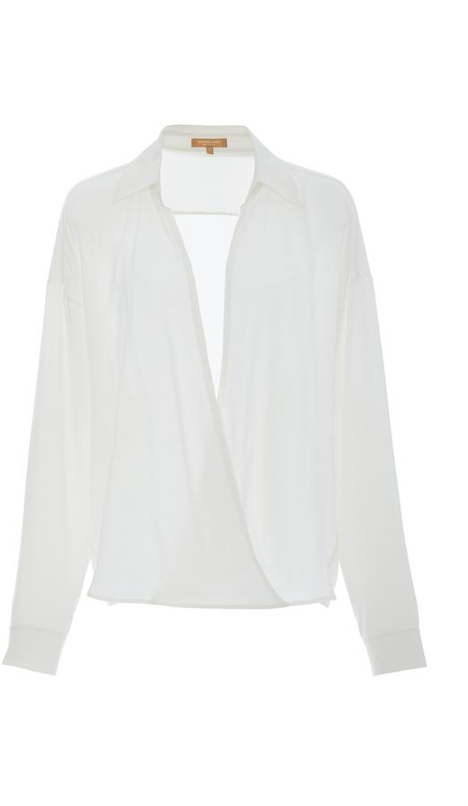 Michael Kors Collection Cross Front Silk Shirt