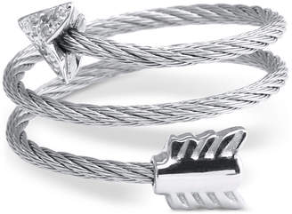 Charriol White Topaz Arrow Wrap Ring (1/10 ct. t.w.) in Stainless Steel and Sterling Silver