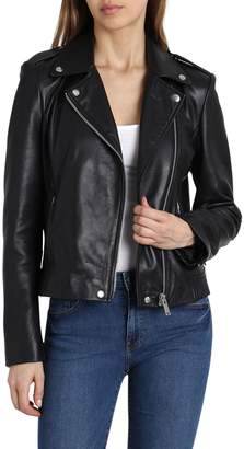 Badgley Mischka Collection Washed Leather Biker Jacket