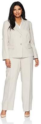 Le Suit Women's Size Plus Stripe Herringbone 2 Bttn Notch Lapel Pant