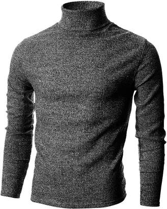 Blend of America Ohoo Mens Slim Fit Narrow Ribbed Cotton Turtleneck Pullover/DCP026-CHARCOAL-L