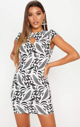 PrettyLittleThing Black Lace Cap Sleeve Neckline Detail Bodycon Dress