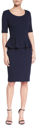 St. John Collection Milano Pique Knit Peplum Dress, Navy $995 thestylecure.com
