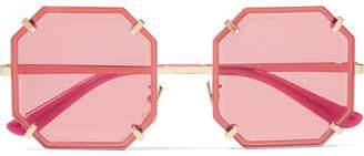 Dolce & Gabbana Square-frame Gold-tone Sunglasses - Red