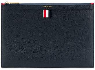 Thom Browne Bi-Colour Small Zipper Tablet Holder in Pebble Grain