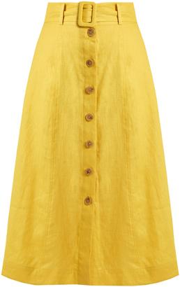 SEA Button-down A-line linen midi skirt $368 thestylecure.com