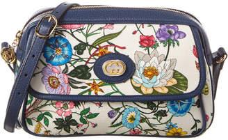 Gucci Small Flora Canvas & Leather Shoulder Bag