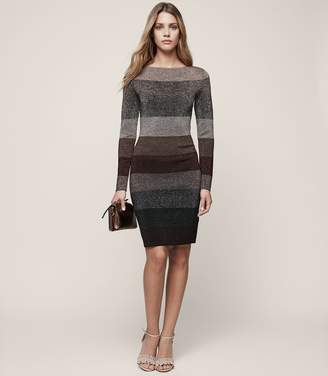 Reiss Ashlyn Striped Lurex Dress