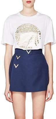 Valentino Women's Logo-Medallion Cotton T-Shirt - White
