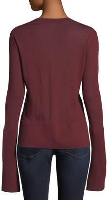 Theory Split-Cuff Merino Wool Pullover Sweater