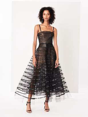 Oscar de la Renta Sequin Band-Embroidered Tulle Gown