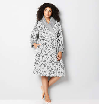 Avenue Grey Scroll Plush Robe