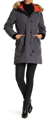 Vince Camuto Contrast Faux Leather Faux Fur Hood Mid Down Jacket