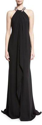 Carmen Marc Valvo Chiffon Toga Gown, Black $1,075 thestylecure.com