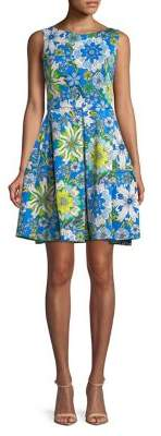 Taylor Floral Fit-and-Flare Scuba Dress