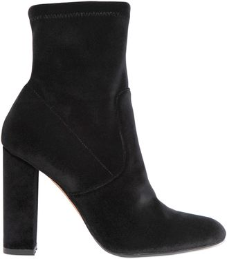 100mm Stretch Velvet Ankle Boots $126 thestylecure.com