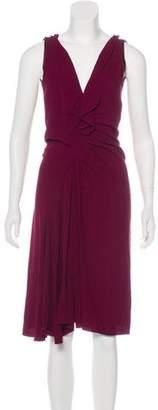 Prada Crepe Ruffle-Trimmed Dress