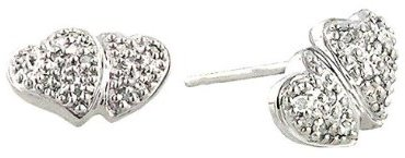 10K White Gold Double-Heart Stud Earrings with Diamonds