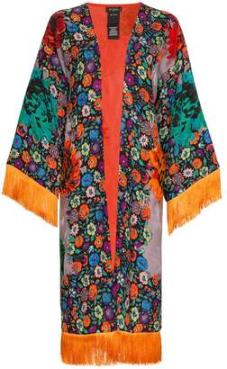 Etro Fringed floral-print jacquard kimono