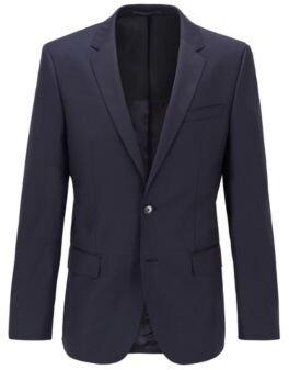 BOSS Hugo Italian Wool Sport Coat, Slim Fit Hayes CYL 40R Dark Blue