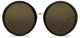 Linda Farrow Acetate front oversize round titanium sunglasses