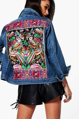 boohoo Embellished Denim Festival Jacket