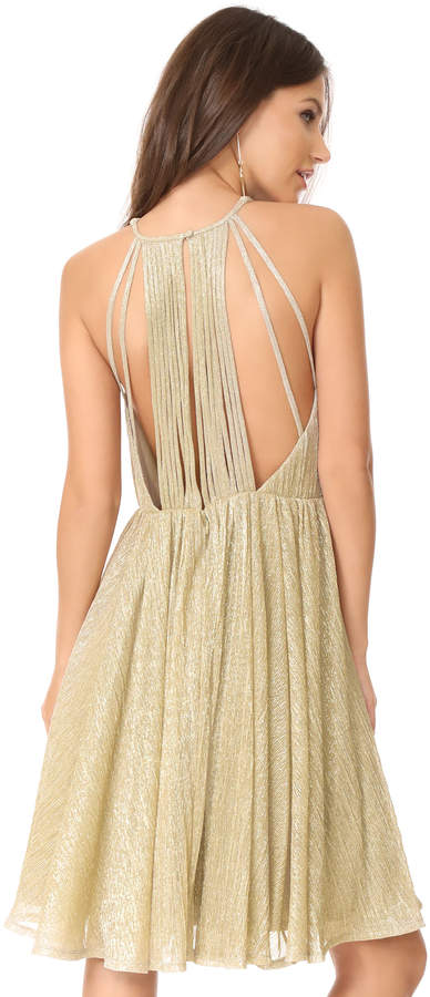 Halston Metallic Back Strap Dress
