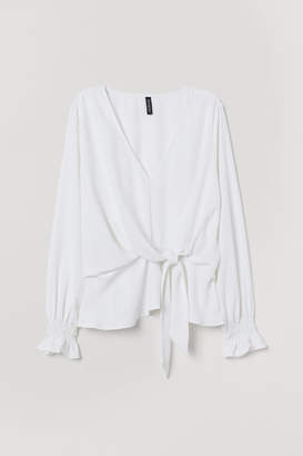 H&M Blouse with Ties - White