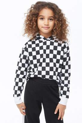 Forever 21 Girls Checkered Print Hoodie (Kids)