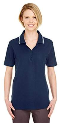 ULTRACLUB UltraClub Ladies' Short-Sleeve Whisper Pique Polo with Tipped Collar 8546
