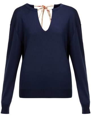 Chloé Split Neck Silk Blend Sweater - Womens - Navy d3d329816