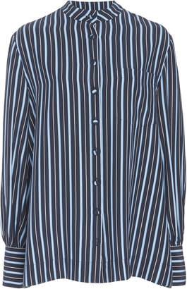Co Navy Stripe Printed Silk Long Sleeve Button Down Shirt