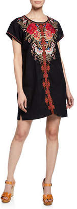 Johnny Was Burke Embroidered Short-Sleeve Linen Tunic Dress