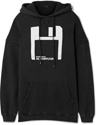 R 13 Oversized Printed Cotton And Lyocell-blend Hoodie - Black
