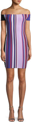 Opening Ceremony Striped Off-the-Shoulder Scalloped-Trim Dress