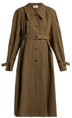 Lemaire Single Breasted Linen And Cotton Blend Trench Coat - Womens - Khaki