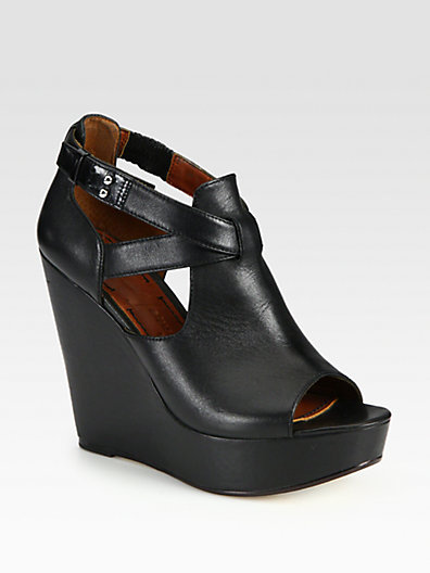 Elizabeth and James Leather Criss-Cross Wedge Sandals