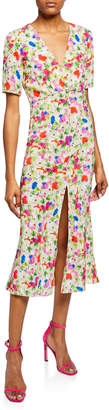 Saloni Eden Front-Slit Silk Floral Midi Dress