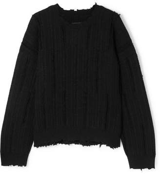 RtA Emmet Distressed Ribbed-knit Sweater - Black