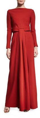 Zac Posen Long-Sleeve Knot-Waist Gown, Tangerine $3,990 thestylecure.com