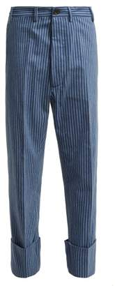 Vivienne Westwood Cropped Cotton Flannel Trousers - Womens - Blue