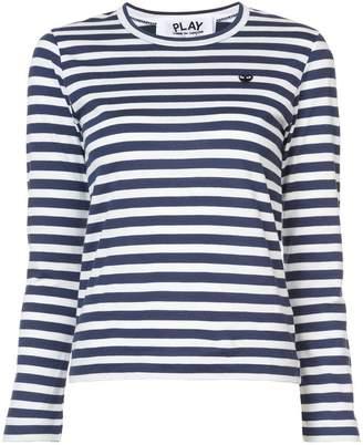 Comme des Garcons striped heart patch T-shirt