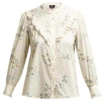 A.P.C. Polly Floral Print Cotton Poplin Blouse - Womens - White