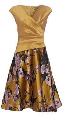 Teri Jon by Rickie Freeman Stretch Mikado& Floral Jacquard Dress
