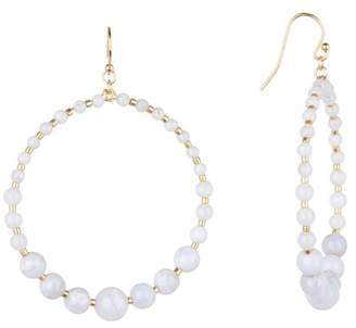 Chan Luu 18K Gold Plated Sterling Silver Stone Beaded Frontal Hoop Dangle Earrings
