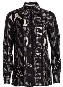 Valentino Women's V For Printed Silk Blouse - Black Ivory - Size 6