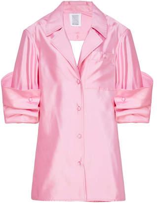 Rosie Assoulin Peek-A-Boo Silk-Satin Shirt
