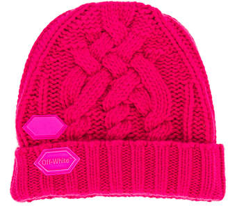 Off-White Off White Knit Pop Color Hat in Fuchsia | FWRD