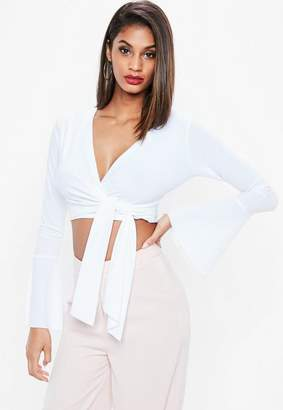 Missguided White Flared Sleeve Tie Side Wrap Crop Top