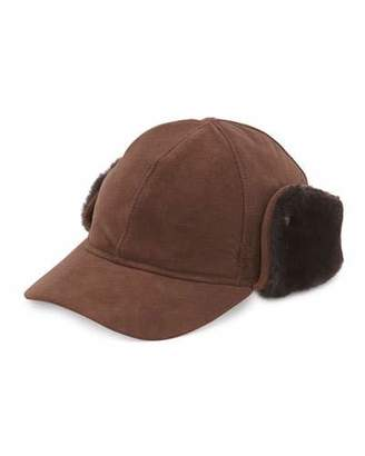 UGG Suede Cap w/Shearling Ear Flaps, Chocolate $145 thestylecure.com